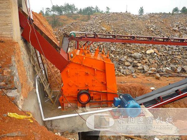 湖南时产500t/h石灰石石料生产线的反击式破碎机设备